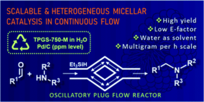 Continuous flow heterogeneous catalytic reductive aminations under aqueous micellar conditions enabled by an oscillatory plug flow reactor - Wernik et al. Green Chem., 2021, 23, 5625-5632